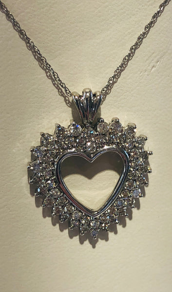 14Kt. White Gold Diamond Heart Necklace