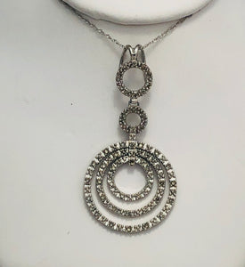 14 Kt. White Gold Multi Circle Diamond Pendant