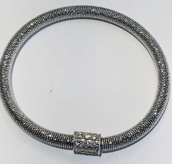 14Kt. White Gold Diamond Spring expandable bracelet