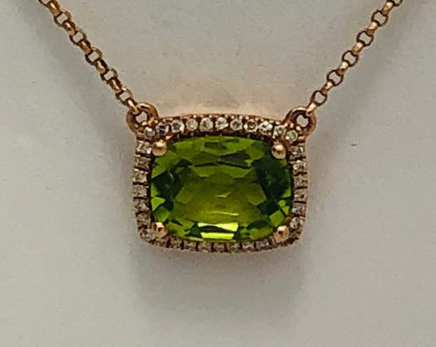 14Kt. Rose  Gold Peridot and Diamond Pendant