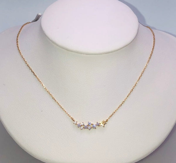 14Kt. Yellow Gold Shooting Star CZ Necklace