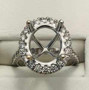 14Kt. White Gold Oval Halo Diamond Semi Mounting
