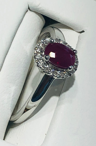 14 Kt. White Gold Ruby and Diamond Ring