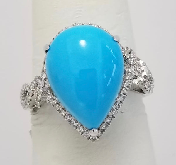 14Kt. White Gold Sleeping Beauty turquoise Ring