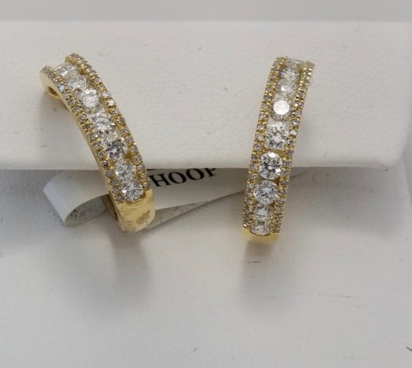 14Kt. Yellow Gold Diamond Hoop Huggie Earrings