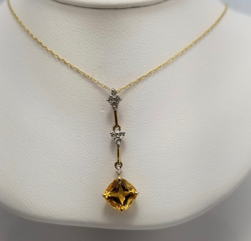 14Kt. Yellow Gold Citrine and Diamond Pendant