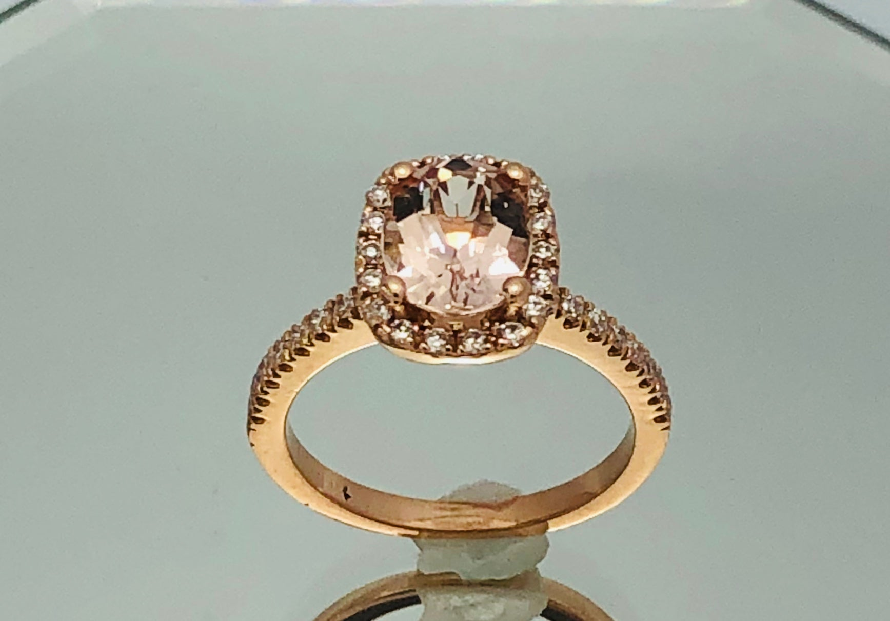 14Kt. Rose Gold Oval Morganite Ring