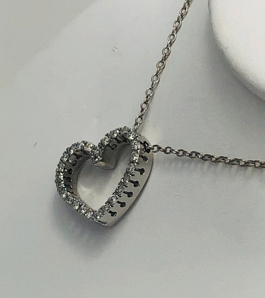 18 Kt. White Gold Diamond Heart Pendant