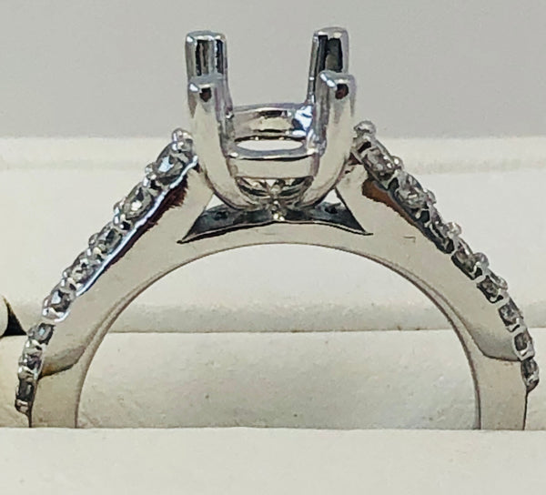 14Kt. White Gold Diamond Semi Mounting Ring