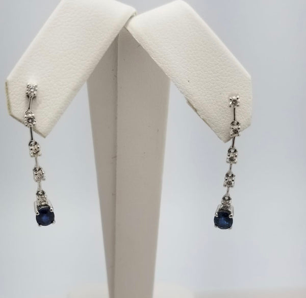 18Kt. White Gold Sapphire & Diamond Earrings
