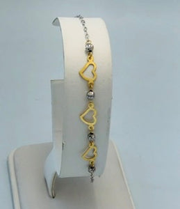 14Kt. White and Yellow gold heart bracelet