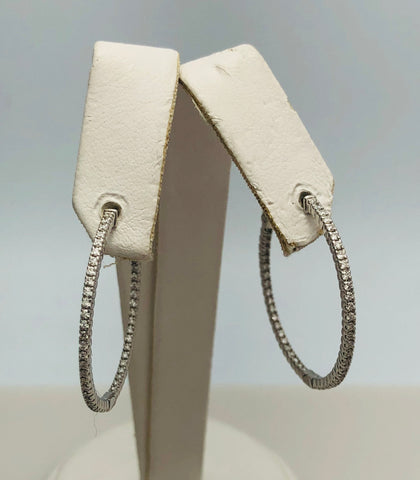 14Kt. White Gold Diamond Inside/Outside Hoop Earrings