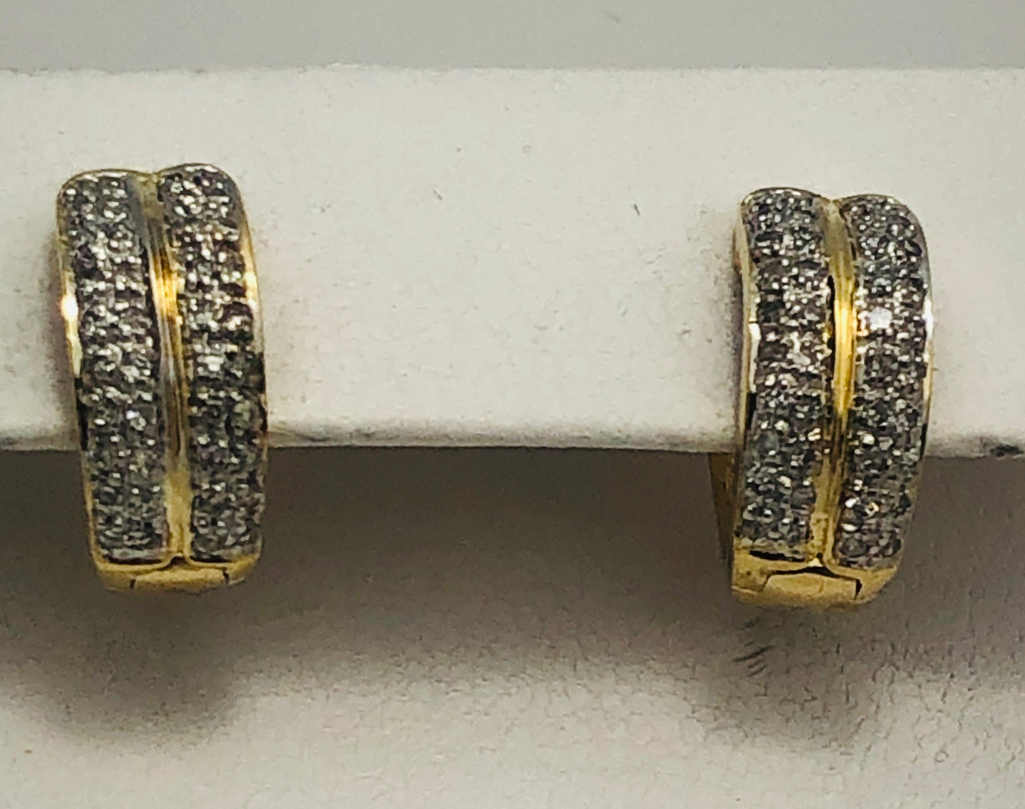 14Kt. Two Tone Diamond Hugies Hoop Earrings