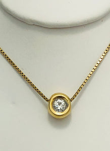 14 Kt. Yellow Gold Bezel Set Diamond Pendant