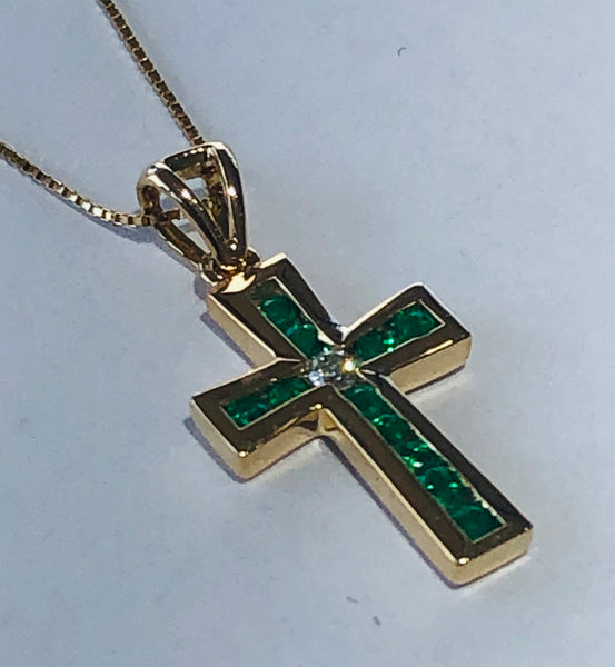 14 Kt. Yellow Gold Emerald and Diamond Cross Pendant