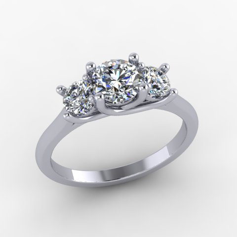 14Kt. White Gold Three Stone Natural Diamond Engagement Ring