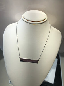 14Kt. White Gold polish bar necklace