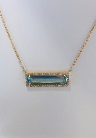 Yellow Gold Blue Topaz and Diamond Pendant