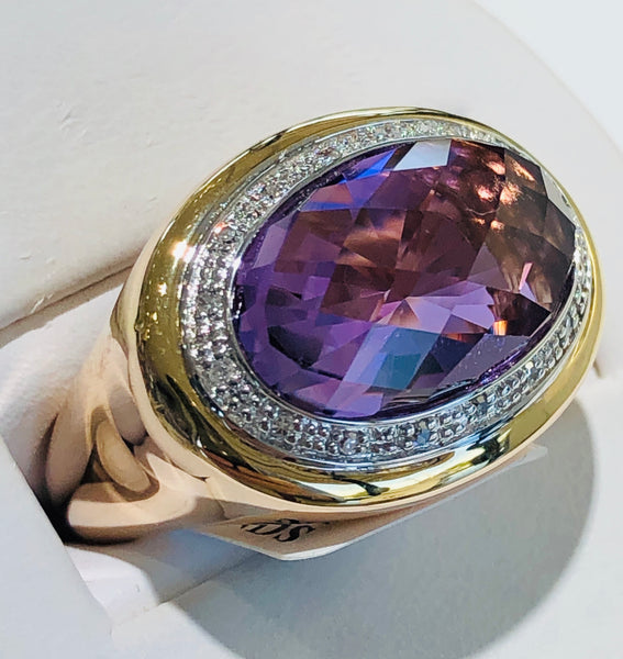 14 Kt. Rose and Yellow Gold Amethyst Ring