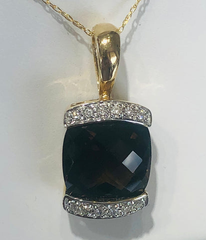 14Kt. Y/G Effy Smoky Quartz and Diamond Pendant