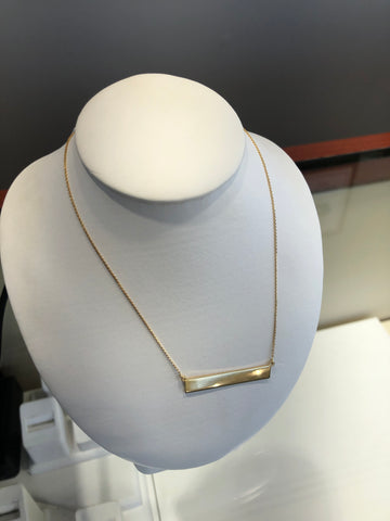 14Kt. Yellow Gold Polished Bar Necklace