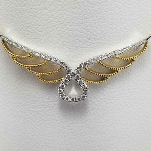 18Kt. Two Tone gold Angel Wings diamond necklace