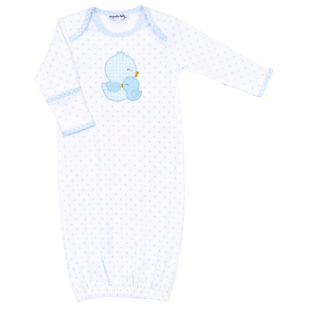 Gingham Duckie Applique Lap Gown