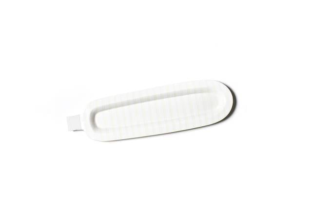 Happy Everything White Stripe Oval Tray