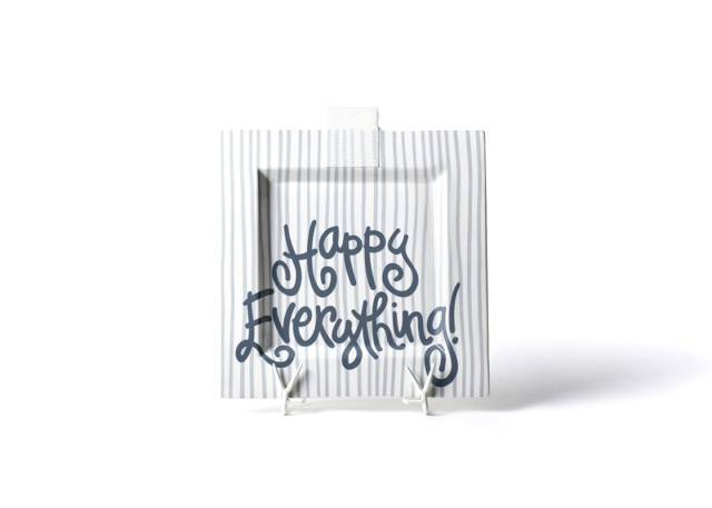 Happy Everything Square Stone Stripe Platter