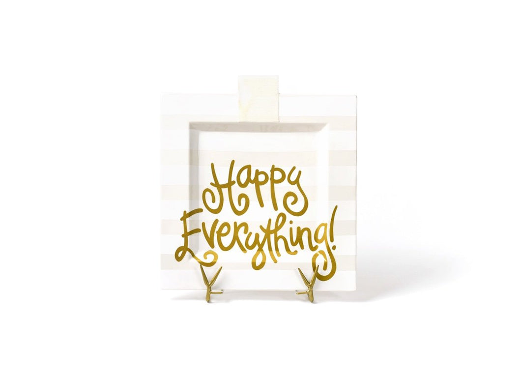 Happy Everything Square White Stripe Platter
