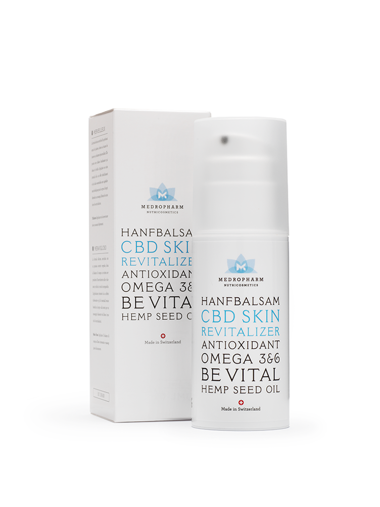 Medropharm CBD skin revitalizer, box and pump bottle