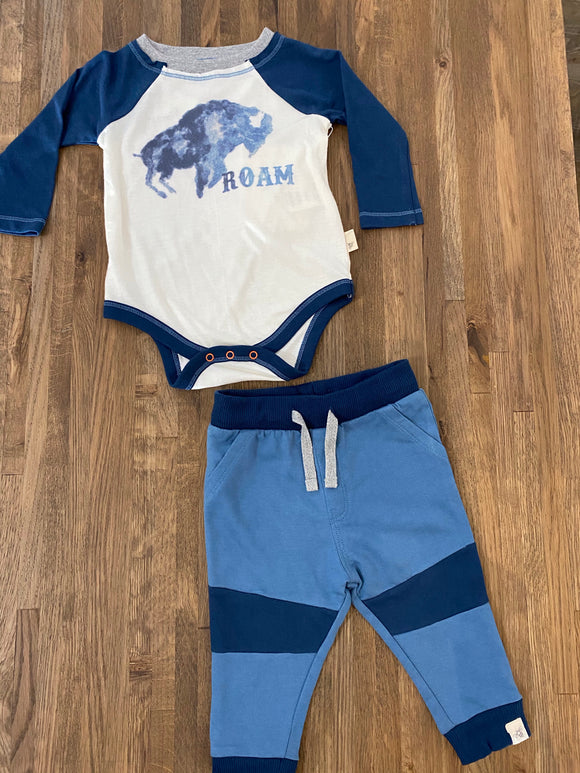 Roam Tee and French Terry Pant Set- Blue