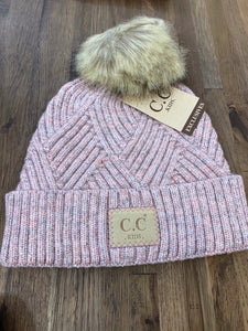 Kids Single Pom Beanie- Rose Pink