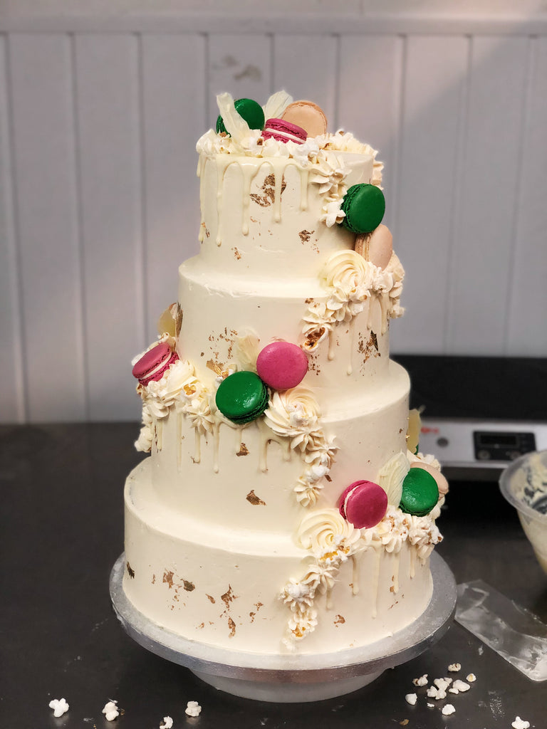 Wedding cake with macarons