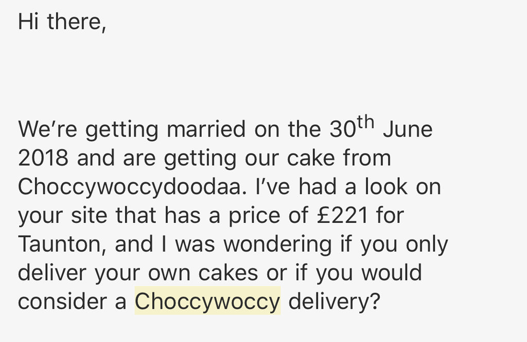 Choccywoccy wedding cake delivery