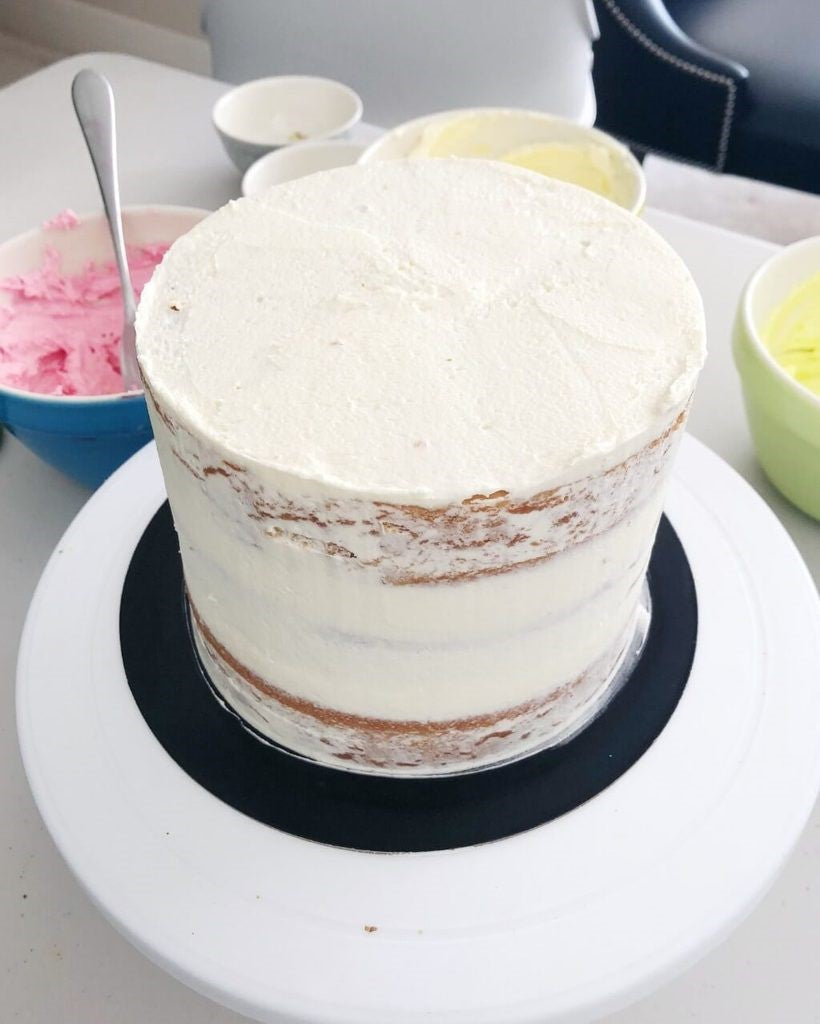 Frost and chill wedding cake tiers before stacking