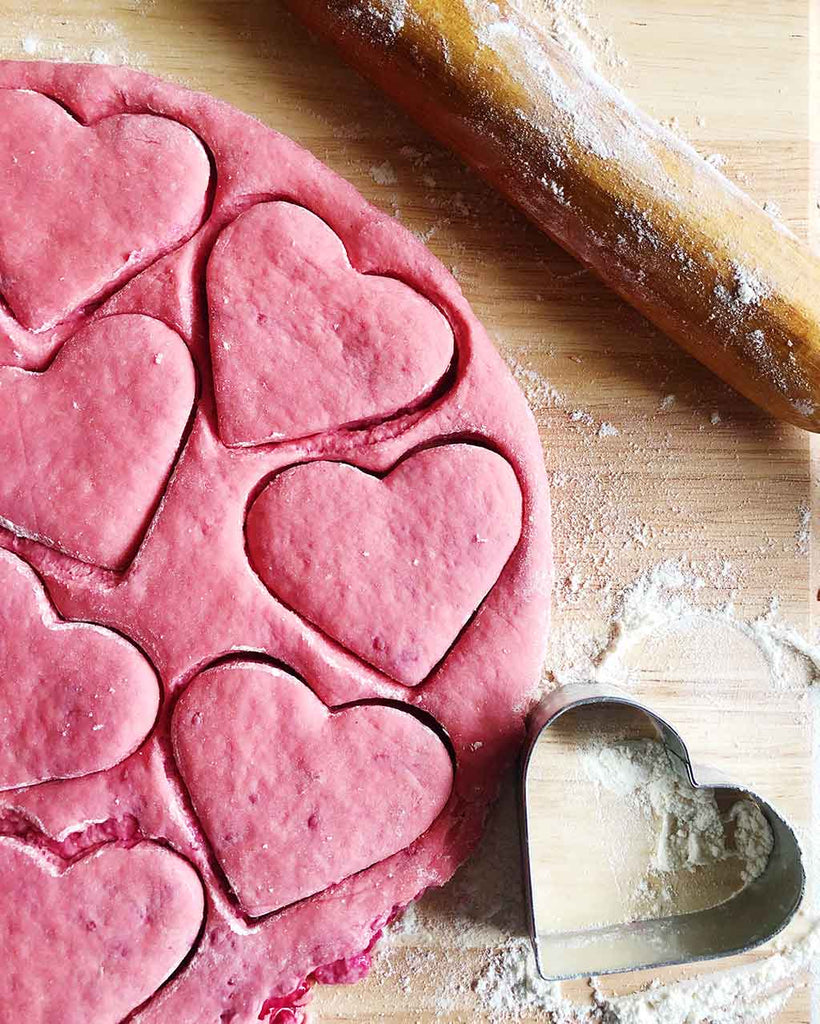 Heart Shaped Raspberry Scone Recipe - cut