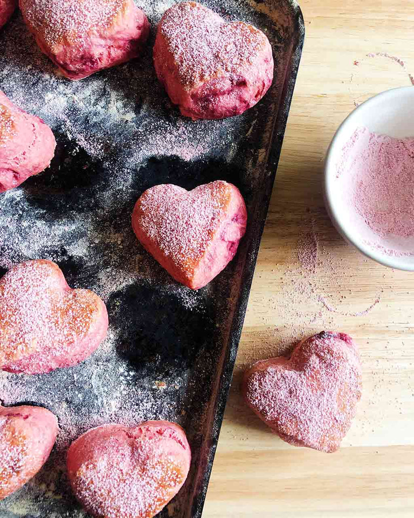 Heart Shaped Raspberry Scone Recipe - pink icing sugar