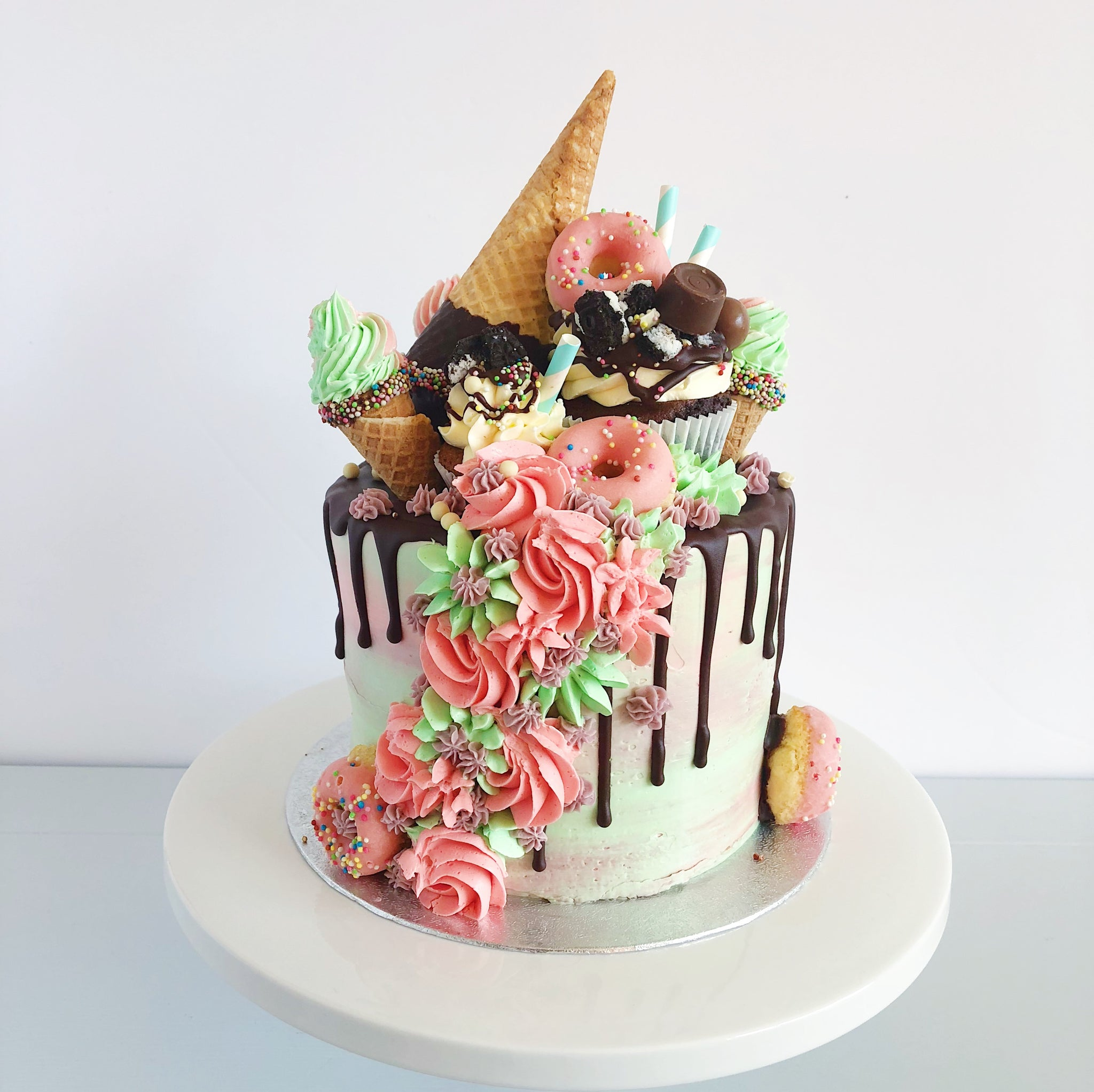 Dropped Ice Cream CHocolate Drip Birthday Cake