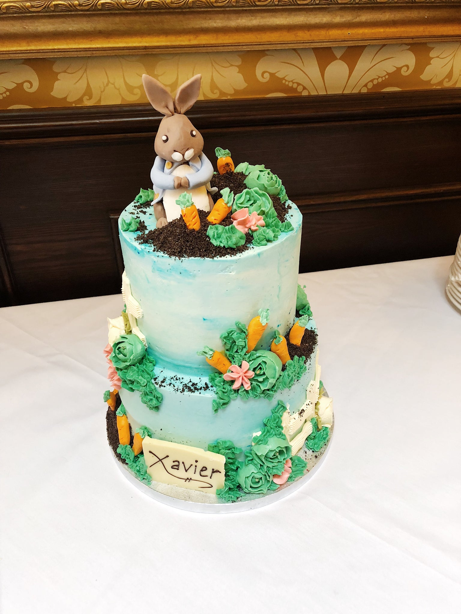 Peter Rabbit Two Tiered Christening Cake Richmond