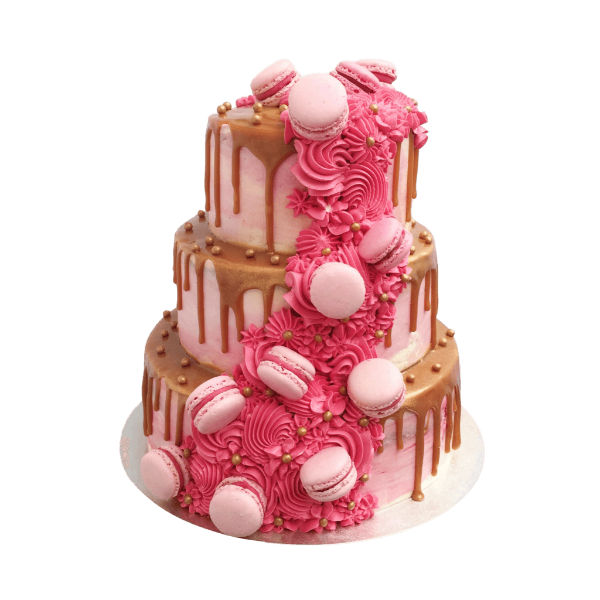 Pink Watercolour Wedding Cake with Macarons | Top Wedding Cakes London