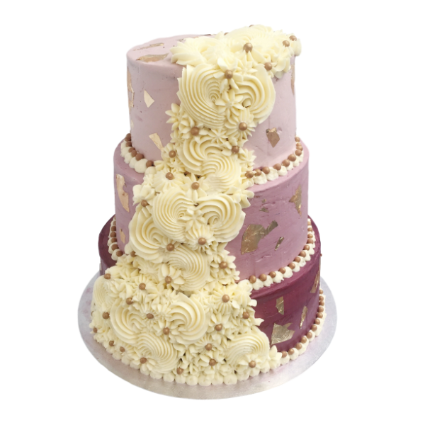 Purple Royale Cream Cascade Wedding Cake | Top Wedding Cakes London