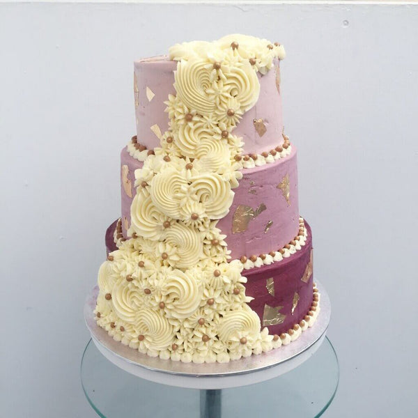 Royal Cream Cascade Wedding Cake by Anges