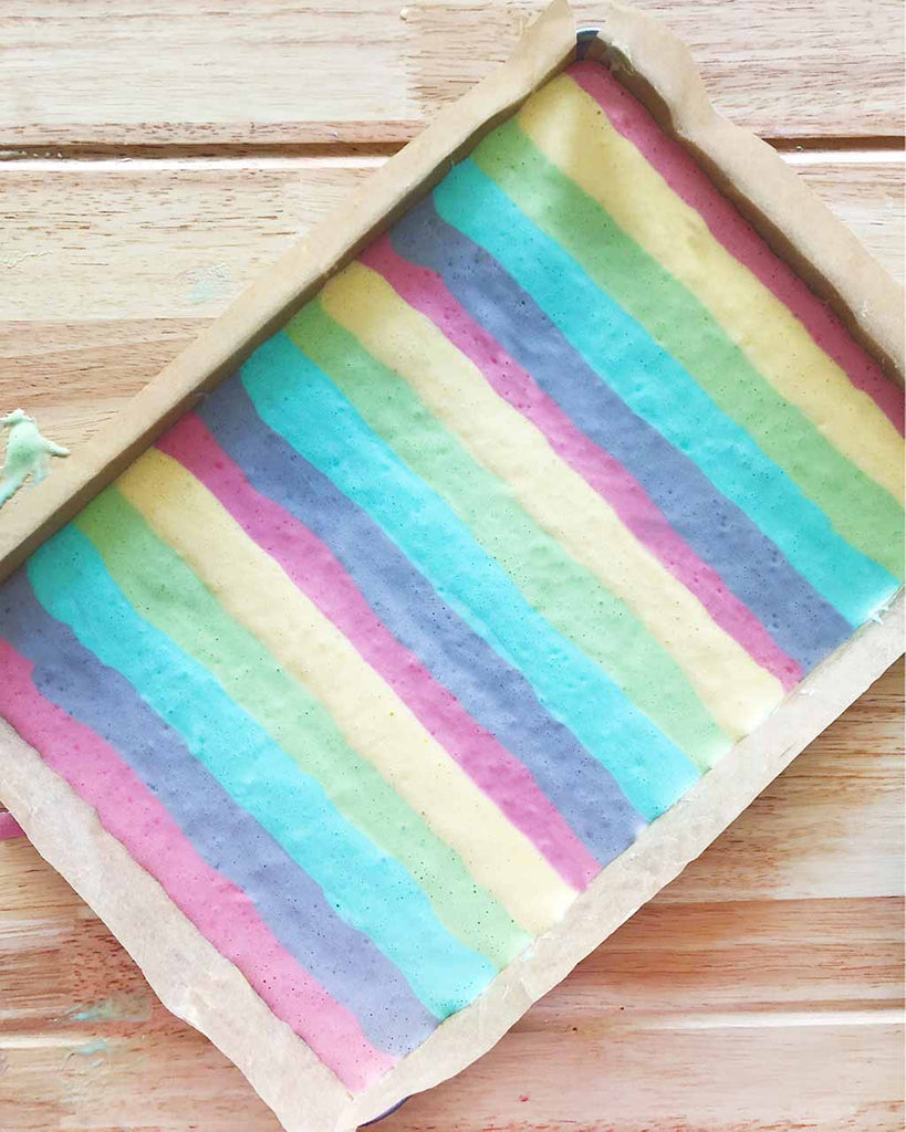 Rainbow Cake Roll - piped batter