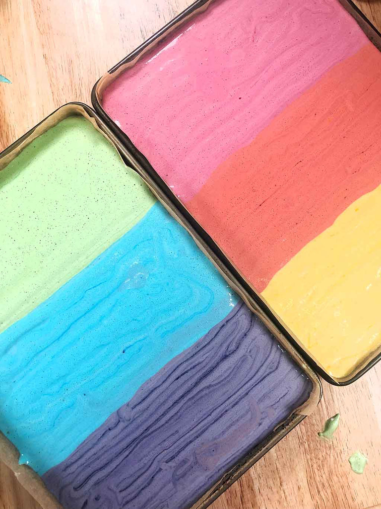 Rainbow Charlotte Royale Recipe - piped sponge batters