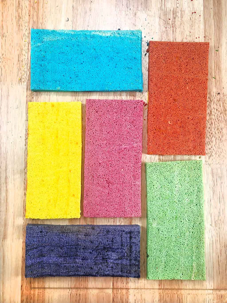 Rainbow Charlotte Royale Recipe - trimmed sponges