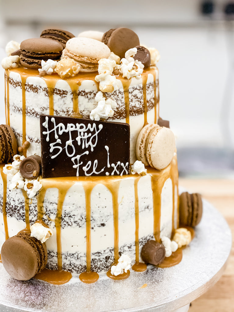 Naked Salted Caramel Birthday Cake
