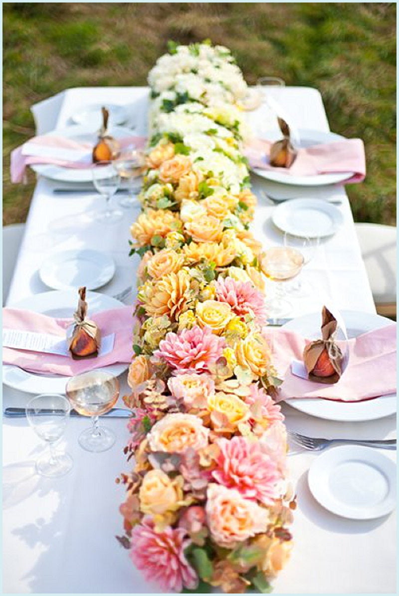Ombre Peach Floral Table Runner Centrepiece