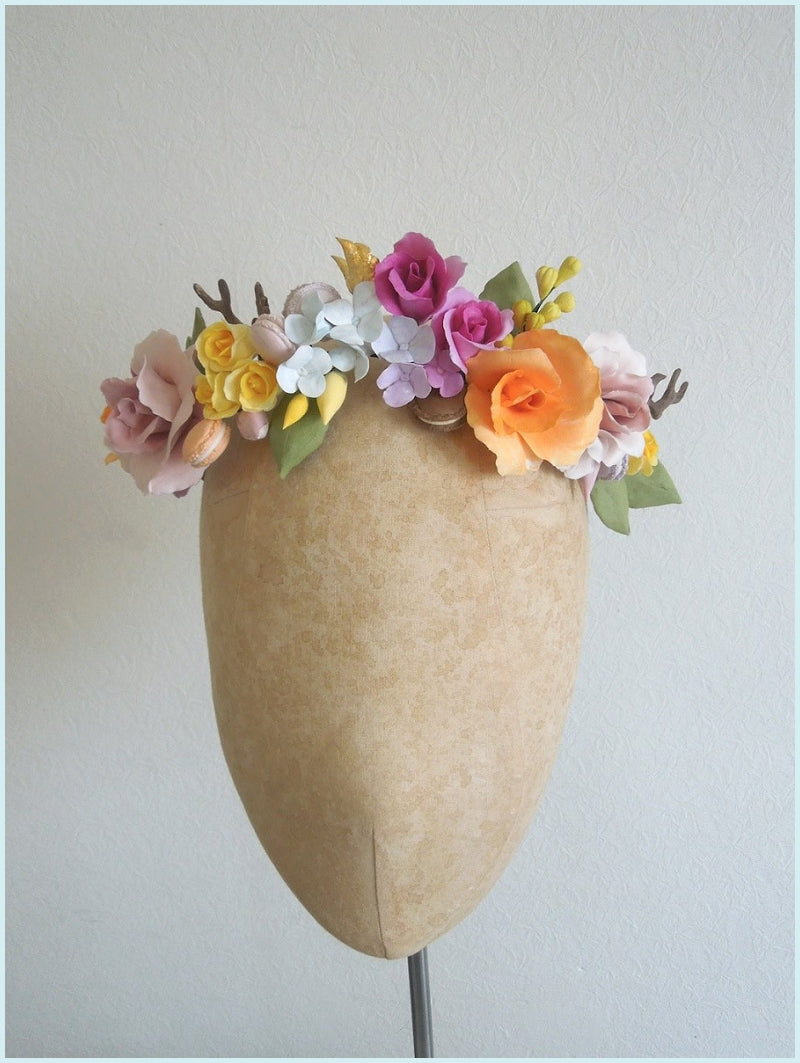 Floral Macaron Crown Hairpiece