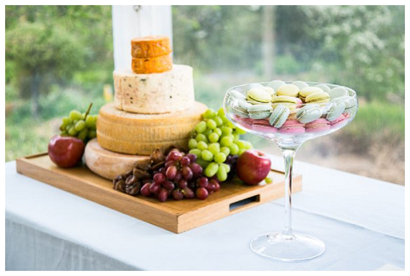 Cheese stack and macarons for weddings
